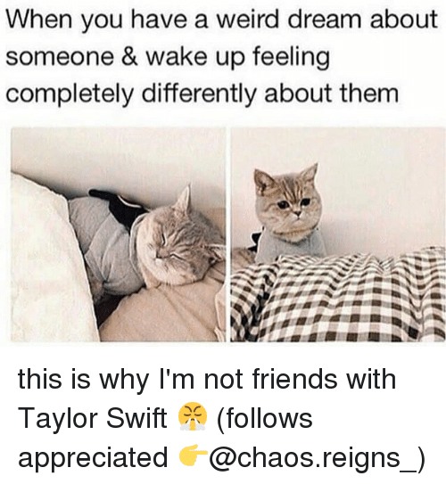Friends, Memes, and Taylor Swift: When you have a weird dream about  someone & wake up feeling  completely differently about them this is why I'm not friends with Taylor Swift 😤 (follows appreciated 👉@chaos.reigns_)