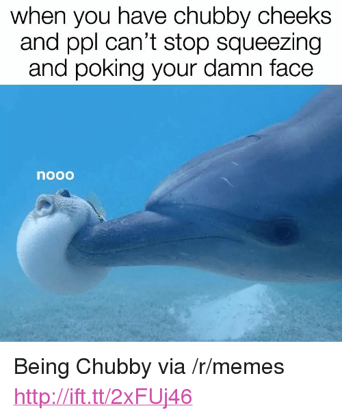 """chubby cheeks: when you have chubby cheeks  and ppl can't stop squeezing  and poking your damn face  nooo <p>Being Chubby via /r/memes <a href=""""http://ift.tt/2xFUj46"""">http://ift.tt/2xFUj46</a></p>"""