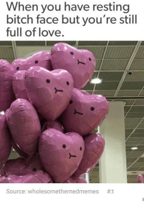 bitch face: When you have resting  bitch face but you're still  full of love.  Source: wholesomethemedmemes