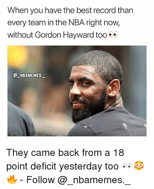 Gordon Hayward, Memes, and Nba: When you have the best record than  every team in the NBA right now,  without Gordon Hayward too . .  G NBAMEMES They came back from a 18 point deficit yesterday too 👀😳🔥 - Follow @_nbamemes._