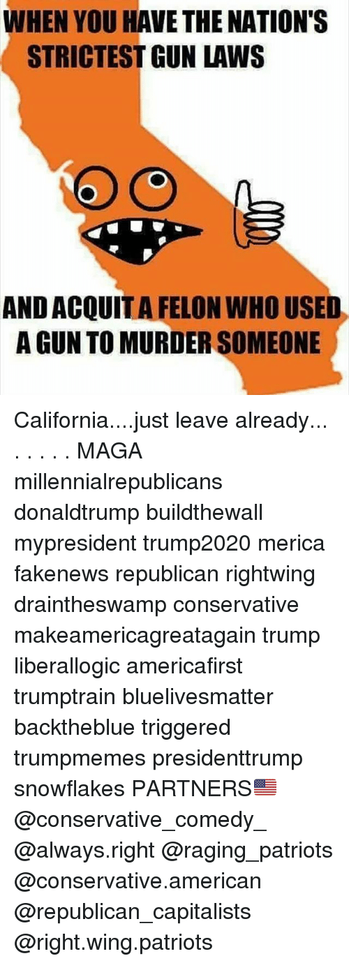Memes, Patriotic, and American: WHEN YOU HAVE THE NATION'S  STRICTEST GUN LAWS  AND ACQUIT A FELON WHO USED  A GUN TO MURDER SOMEONE California....just leave already... . . . . . MAGA millennialrepublicans donaldtrump buildthewall mypresident trump2020 merica fakenews republican rightwing draintheswamp conservative makeamericagreatagain trump liberallogic americafirst trumptrain bluelivesmatter backtheblue triggered trumpmemes presidenttrump snowflakes PARTNERS🇺🇸 @conservative_comedy_ @always.right @raging_patriots @conservative.american @republican_capitalists @right.wing.patriots
