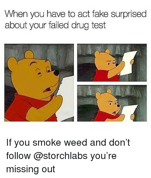 Fake, Memes, and Weed: When you have to act fake surprised  about your failed drug test If you smoke weed and don't follow @storchlabs you're missing out