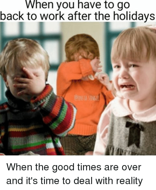 Work, Good, and Time: When you have to go  back to work after the holidays When the good times are over and it's time to deal with reality