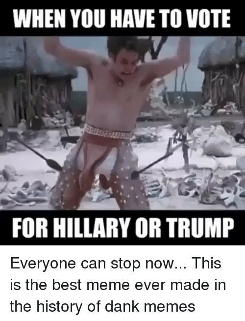Dank, Meme, and Memes: WHEN YOU HAVE TO VOTE  FOR HILLARY OR TRUMP Everyone can stop now... This is the best meme ever made in the history of dank memes