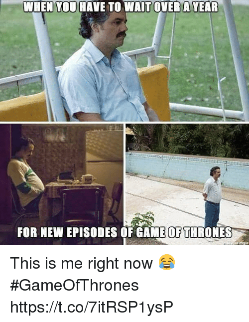 Game of Thrones, Memes, and Game: WHEN YOU HAVE TO WAIT OVER A YEAR  FOR NEW EPISODES OF GAME OF THRONES This is me right now 😂 #GameOfThrones https://t.co/7itRSP1ysP