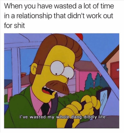 Life, Shit, and Work: When you have wasted a lot of time  in a relationship that didn't work out  for shit  've wasted my whole dang-diddly life