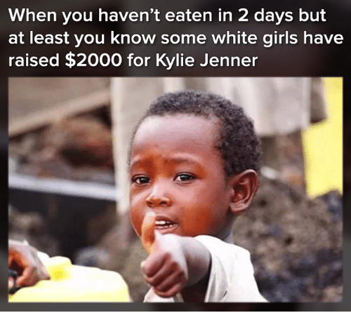 Kylie Jenner, Memes, and White: When you haven't eaten in 2 days but  at least you know some white giris have  raised $2000 for Kylie Jenner