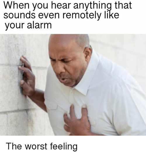 Memes, The Worst, and Alarm: When you hear anything that  sounds even remotely like  your alarm The worst feeling