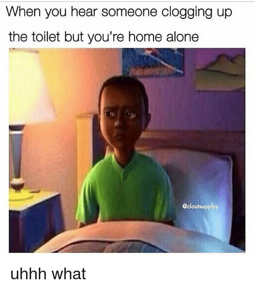 Being Alone, Home Alone, and Memes: When you hear someone clogging up  the toilet but you're home alone  @cloutsupplyy uhhh what