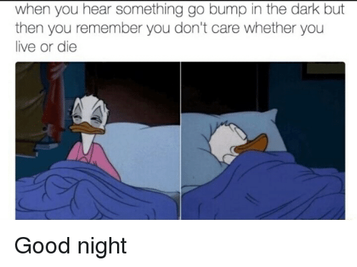 Funny, Good, and Live: when you hear something go bump in the dark but  then you remember you don't care whether you  live or die Good night