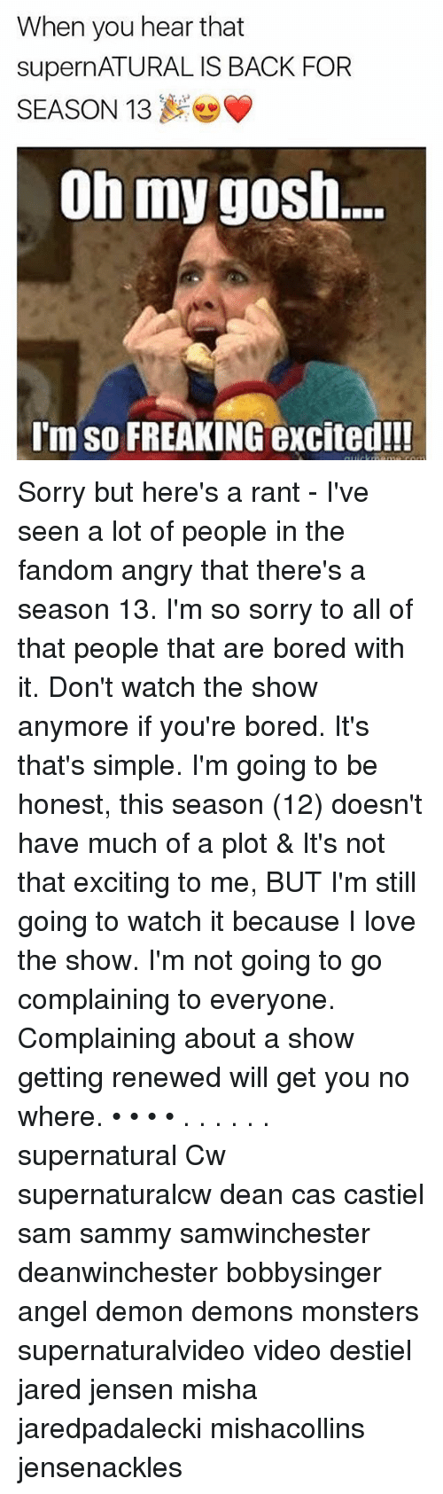 Memes, Monster, and 🤖: When you hear that  supernATURAL IS BACK FOR  SEASON 13  Oh my gosh.  I'm so FREAKING excited!!! Sorry but here's a rant - I've seen a lot of people in the fandom angry that there's a season 13. I'm so sorry to all of that people that are bored with it. Don't watch the show anymore if you're bored. It's that's simple. I'm going to be honest, this season (12) doesn't have much of a plot & It's not that exciting to me, BUT I'm still going to watch it because I love the show. I'm not going to go complaining to everyone. Complaining about a show getting renewed will get you no where. • • • • . . . . . . supernatural Cw supernaturalcw dean cas castiel sam sammy samwinchester deanwinchester bobbysinger angel demon demons monsters supernaturalvideo video destiel jared jensen misha jaredpadalecki mishacollins jensenackles