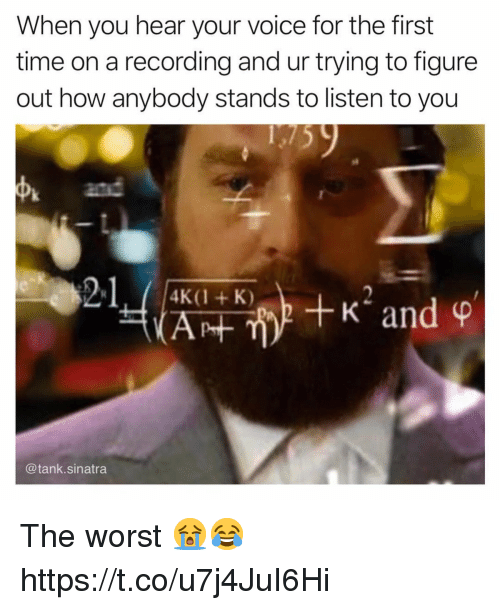 The Worst, Time, and Voice: When you hear your voice for the first  time on a recording and ur trying to figure  out how anybody stands to listen to you  4  and  2-1400-,+K2 and ф  4K(1 + K)  @tank.sinatra The worst 😭😂 https://t.co/u7j4JuI6Hi