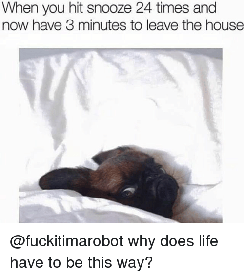 Why Doe: When you hit snooze 24 times and  now have 3 minutes to leave the house @fuckitimarobot why does life have to be this way?