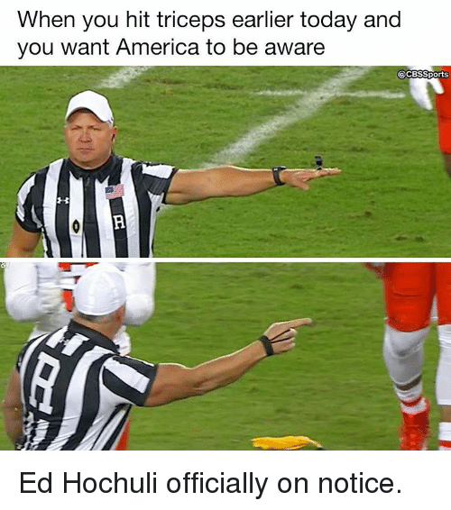 Ed Hochuli: When you hit triceps earlier today and  you want America to be aware  @CBSSports Ed Hochuli officially on notice.