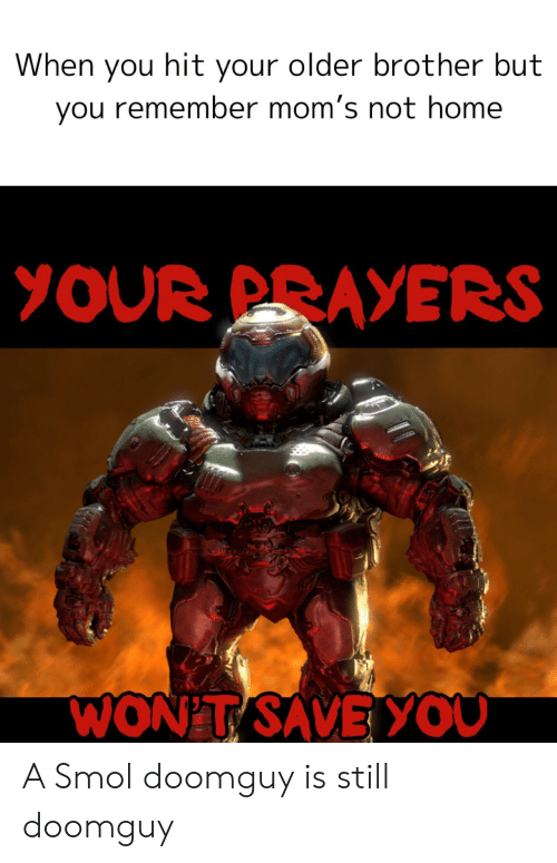 prayers: When you hit your older brother but  you remember mom's not home  YOUR PRAYERS  WON'T SAVEYOU A Smol doomguy is still doomguy