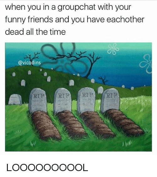 Funny, Memes, and Vicodin: when you in a groupchat with your  funny friends and you have eachother  dead all the time  @vicodins  RIP RIP LOOOOOOOOOL