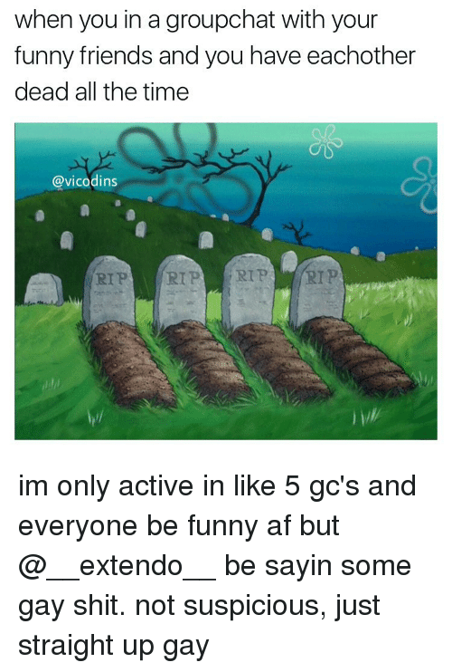 funny friends: when you in a groupchat with your  funny friends and you have eachother  dead all the time  @vicodins  RIP RIP RIP RIP im only active in like 5 gc's and everyone be funny af but @__extendo__ be sayin some gay shit. not suspicious, just straight up gay