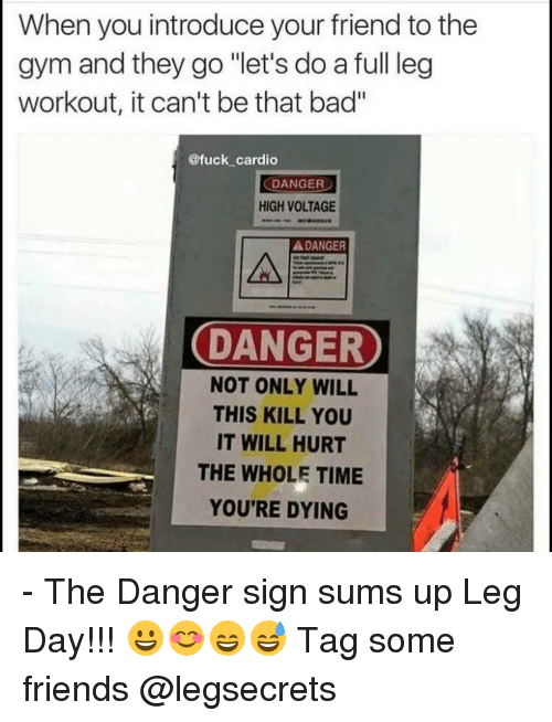 "Memes, Leggings, and Leg Day: When you introduce your friend to the  gym and they go ""let's do a full leg  workout, it can't be that bad""  @fuck cardio  DANGER  HIGH VOLTAGE  A DANGER  DANGER  NOT ONLY WILL  THIS KILL YOU  IT WILL HURT  THE WHOLE TIME  YOU'RE DYING - The Danger sign sums up Leg Day!!! 😀😊😄😅 Tag some friends @legsecrets"