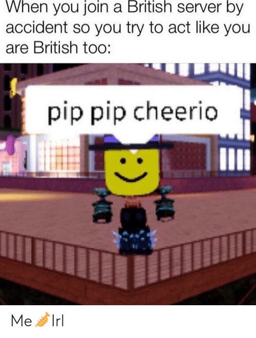 cheerio: When you join a British server by  accident so you try to act like you  are British too:  pip pip cheerio Me🎺Irl