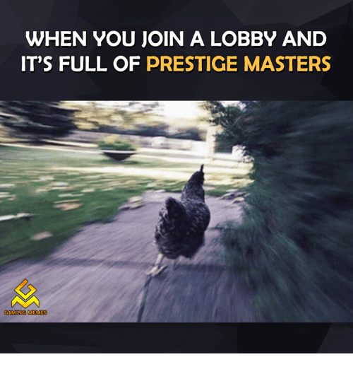 Gaming Meme: WHEN YOU JOIN A LOBBY AND  IT'S FULL OF PRESTIGE MASTERS  GAMING MEMES
