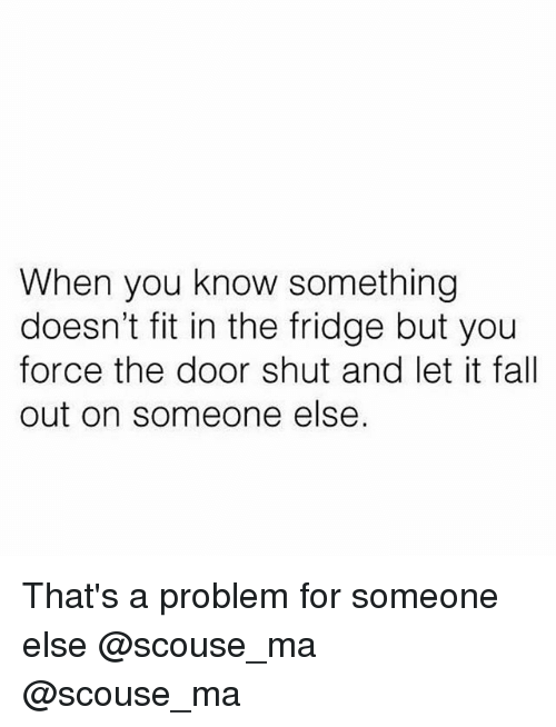 Its Fall: When you know something  doesn't fit in the fridge but you  force the door shut and let it fall  out on someone else. That's a problem for someone else @scouse_ma @scouse_ma