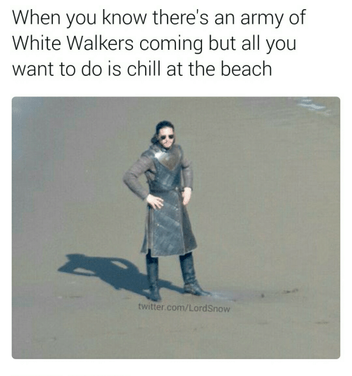 An Army: When you know there's  White Walkers coming but all you  of  an army  want to do is chill at the beach  twitter.com/LordSnow