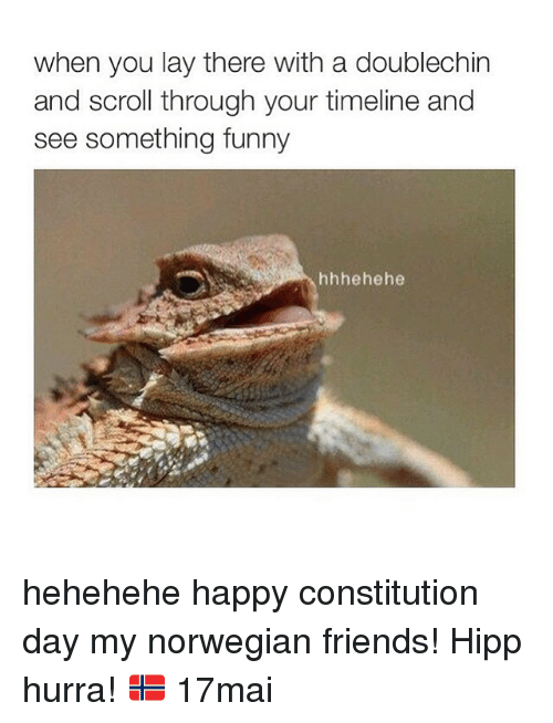 Friends, Funny, and Lay's: when you lay there with a doublechin  and scroll through your timeline and  see something funny  hehehe hehehehe happy constitution day my norwegian friends! Hipp hurra! 🇳🇴 17mai