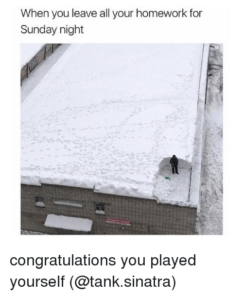 Congratulations You Played Yourself, Funny, and Memes: When you leave all your homework for  Sunday night congratulations you played yourself (@tank.sinatra)