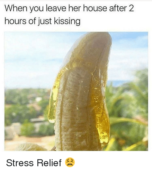 Memes, 🤖, and Stress: When you leave her house after 2  hours of just kissing Stress Relief 😫