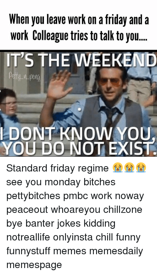 Memes, The Weekend, and 🤖: When you leave work on a friday and a  Work Colleague tries to talk to you....  IT'S THE WEEKEND  W-n peng  I DONT KNOW YOU  YOU DO NOT EXIST Standard friday regime 😭😭😭 see you monday bitches pettybitches pmbc work noway peaceout whoareyou chillzone bye banter jokes kidding notreallife onlyinsta chill funny funnystuff memes memesdaily memespage
