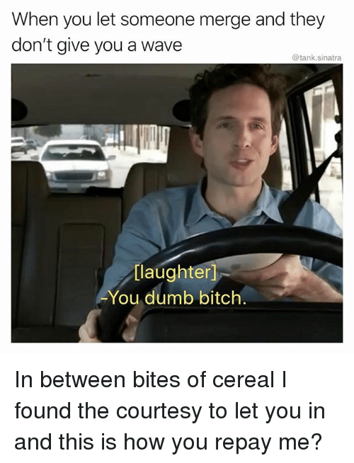 Bitch, Dumb, and Funny: When you let someone merge and they  don't give you a wave  @tank.sinatra  [laughter]  You dumb bitch. In between bites of cereal I found the courtesy to let you in and this is how you repay me?
