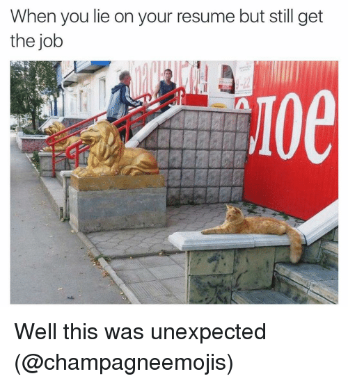 when you lie on your resume but still get the job well this was