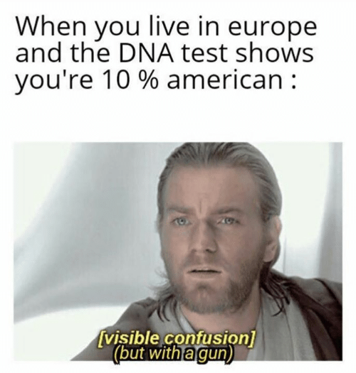 confusion: When you live in europe  and the DNA test shows  you're 10 % american  visible confusion]  (but with a gun)