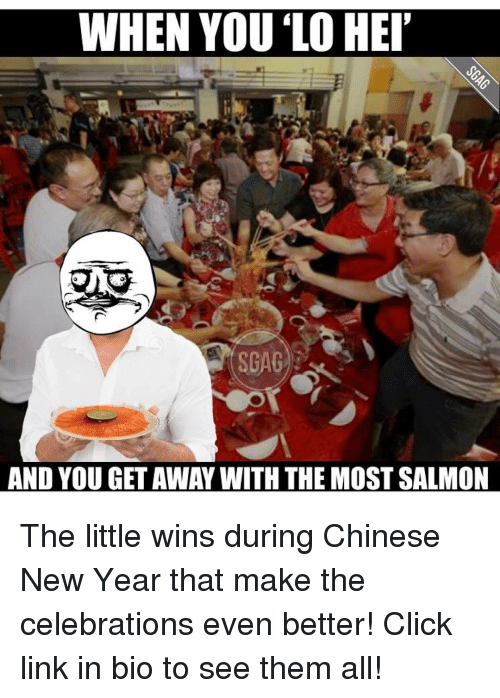 "Memes, 🤖, and Chinese New Year: WHEN YOU LO HEI""  SGAG  AND YOU GET AWAY WITH THE MOSTSALMON The little wins during Chinese New Year that make the celebrations even better! Click link in bio to see them all!"