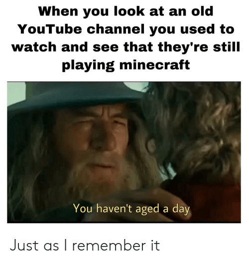 youtube channel: When you look at an old  YouTube channel you used to  watch and see that they're still  playing minecraft  You haven't aged a day Just as I remember it
