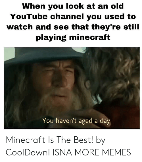 youtube channel: When you look at an old  YouTube channel you used to  watch and see that they're still  playing minecraft  You haven't aged a day Minecraft Is The Best! by CoolDownHSNA MORE MEMES