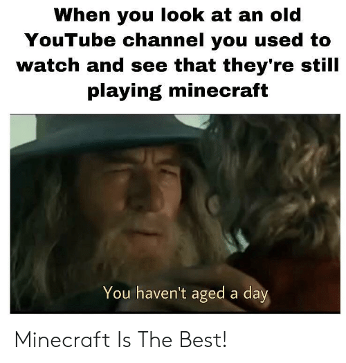 youtube channel: When you look at an old  YouTube channel you used to  watch and see that they're still  playing minecraft  You haven't aged a day Minecraft Is The Best!