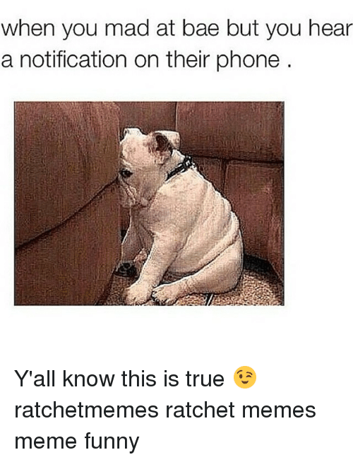 Bae, Meme, and Memes: when you mad at bae but you hear  a notification on their phone Y'all know this is true 😉 ratchetmemes ratchet memes meme funny
