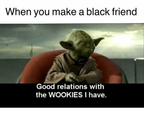 Black Friends: When you make a black friend  Good relations with  the WOOKIES I have.