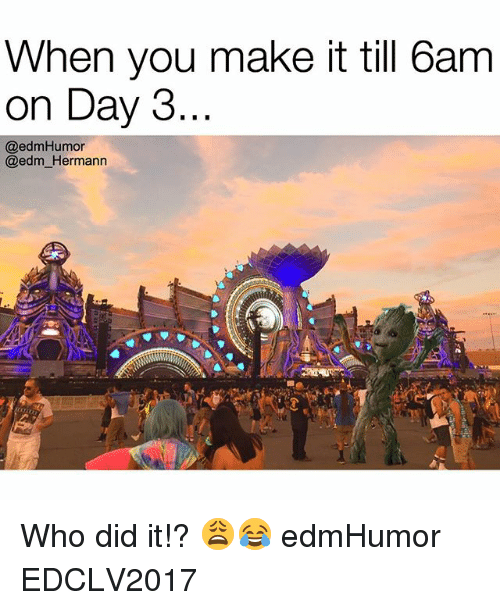 EDM: When you make it till 6am  on Day 3.  @edm Humor  @edm Hermann Who did it!? 😩😂 edmHumor EDCLV2017