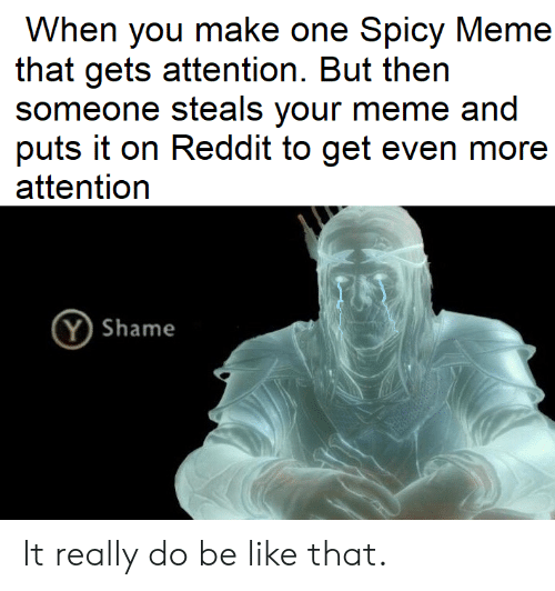 Spicy Meme: When you make one Spicy Meme  that gets attention. But then  someone steals your meme and  puts it on Reddit to get even more  attention  Y Shame It really do be like that.