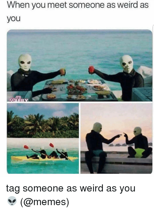 When You Meet Someone: When you meet someone as weird as  you  ITS tag someone as weird as you 👽 (@memes)