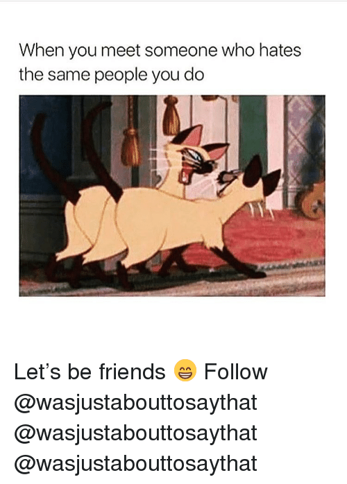 When You Meet Someone: When you meet someone who hates  the same people you do Let's be friends 😁 Follow @wasjustabouttosaythat @wasjustabouttosaythat @wasjustabouttosaythat