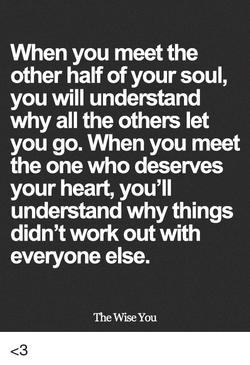 Memes, Work, and Heart: When you meet the  other half of your soul  you will understand  why all the others let  you go. When you meet  the one who deserves  your heart, you'll  understand why things  didn't work out with  everyone else.  The Wise You <3