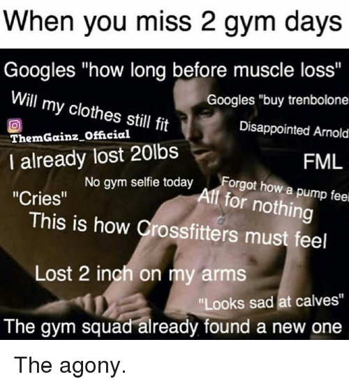 """FML: When you miss 2 gym days  Googles """"how long before muscle loss""""  Will my clothes still fit  ThemGainz Official  I already lost 20lbs  Cries""""  Googles """"buy trenbolone  Disappointed Arnold  FML  No gym selfie todayForgt how a p  Aff for nothing  This is how Crossfitters must feel  Lost 2 inch on my arms  Looks sad at calves""""  The gym squad already found a new one The agony."""