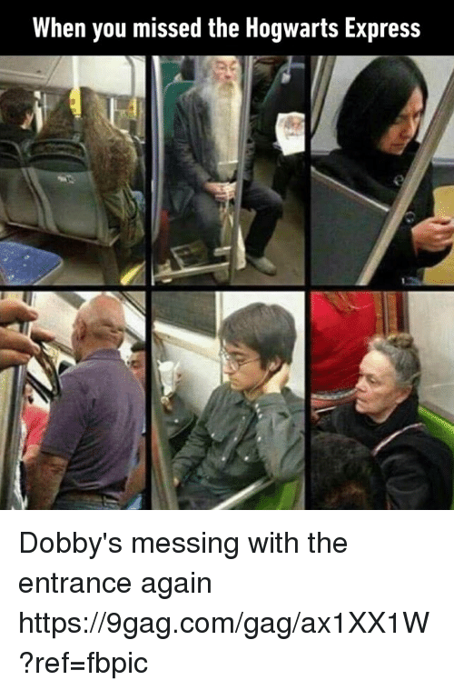 9gag, Dank, and Express: When you missed the Hogwarts Express Dobby's messing with the entrance again https://9gag.com/gag/ax1XX1W?ref=fbpic