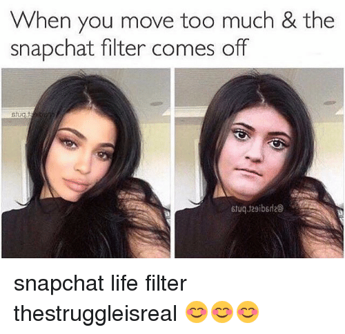 Memes, 🤖, and Filter: When you move too much & the  snapchat filter comes off snapchat life filter thestruggleisreal 😊😊😊