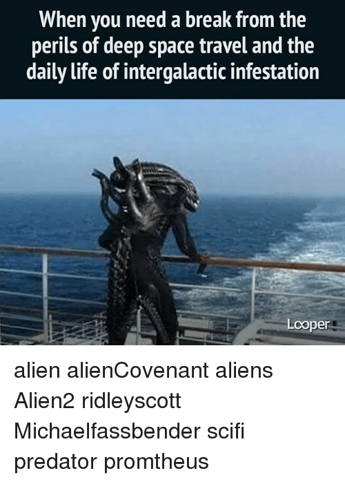 Life, Memes, and Aliens: When you need a break from the  perils of deep space travel and the  daily life of intergalactic infestation  er alien alienCovenant aliens Alien2 ridleyscott Michaelfassbender scifi predator promtheus