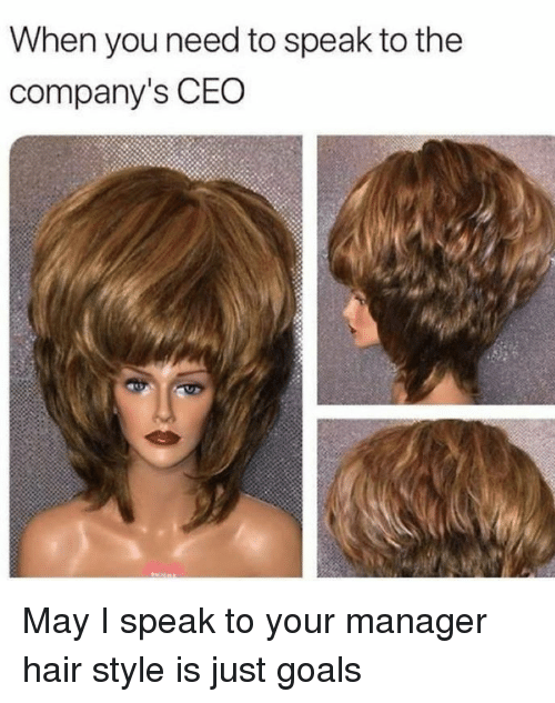 Goals, Memes, and Hair: When you need to speak to the  company's CEO May I speak to your manager hair style is just goals
