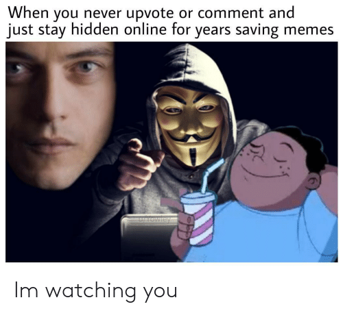 Meme S: When you never upvote or comment and  just stay hidden online for years saving meme:s Im watching you